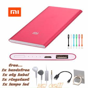 Power Bank Slim 128000mAh + Free Usb LED+handsfree samsung+Otg Kabel Micro+Ringstant
