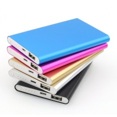 Power bank Slim Metal case 188000 Multicolour with LED biru/pink/gold/hitam/grey