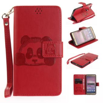 Premium Vintage Emboss Cute Panda Animal Leather Wallet Pouch CaseBuilt-in Card Slots Stand Cover with Wrist Strap for Huawei Honor 8- intl