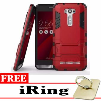 ProCase Shield Rugged Kickstand Armor Iron Man PC+TPU Back Covers for Asus Zenfone 2 Laser ZE500KL/ZE500KG - Red + Free iRing