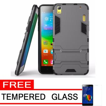ProCase Shield Rugged Kickstand Armor Iron Man PC+TPU Back Covers for Lenovo A7000 - Grey + Free Tempered Glass