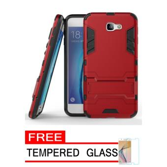 ProCase Shield Rugged Kickstand Armor Iron Man PC+TPU Back Covers for Samsung Galaxy J5 Prime - Red + Free Tempered Glass