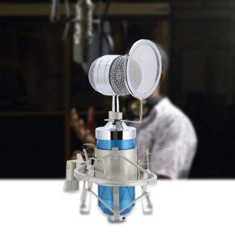 Professional Audio Condenser Microphone Set Recording Mic with Shock Mount (Blue) - intl
