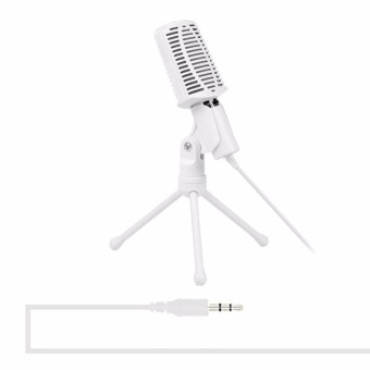 Professional Stereo Microphone with Stand Condenser Sound PodcastStudio 3.5mm 360 Rotation Mic Tripod Stand For PC Notebook - intl