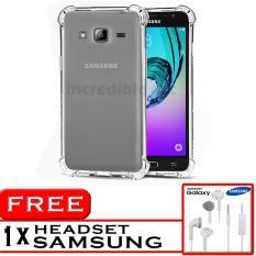 PROMO  Case Anti Shock / Anti Crack Elegant Softcase  for Samsung Galaxy J3 2016 (J310) - White Clear + Free Headset Samsung