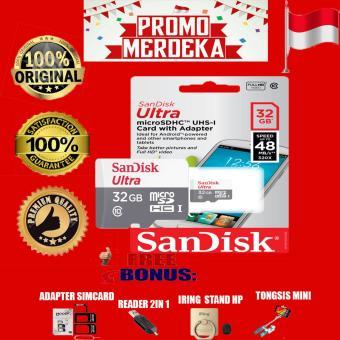 Promo Merdeka Sandisk Memory Card Ultra Micro SDHC class 10 48MB/s- 32GB + Gratis Reader 2in1 + Iring Stand Hp + Sim Card Adapter +Tongsis Mini