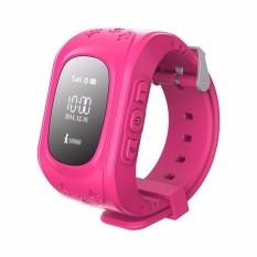 Q50 GPS aman untuk anak pintar cerdas perhiasan jam tangan SOS sebut pencari pelacak lokasi untuk anak anti kehilangan memantau anak bayi (Berwarna Merah Muda)