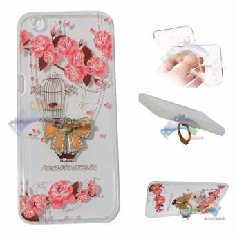 Rainbow Case Oppo F3 Plus Selfie Expert Soft Case Animasi Paint +Crystal Phone Holder Ring