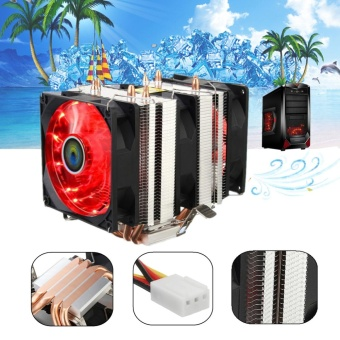 Harga Red LED 3 CPU Cooling Cooler Fan Heatsink for AMD AM2/2+ AM3 Intel LGA 1156 - intl