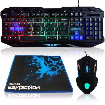 Rexus Keyboard Mouse Mousepad Combo Gaming VR1 Warfaction Backlight - Hitam