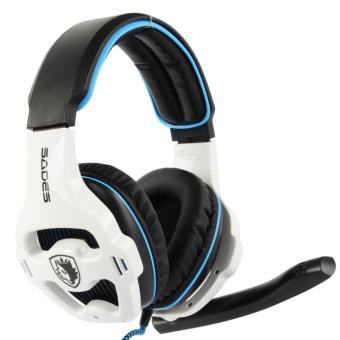 Sades SA903 7.1 Stereo Hi Fi headphone bas yang dalam permainan PCUSB headset dengan mikrofon putih & Hitam - - 3