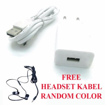Safe Charger with Kabel USB for Vivo Y55 + Free Headset Kabel - Putih