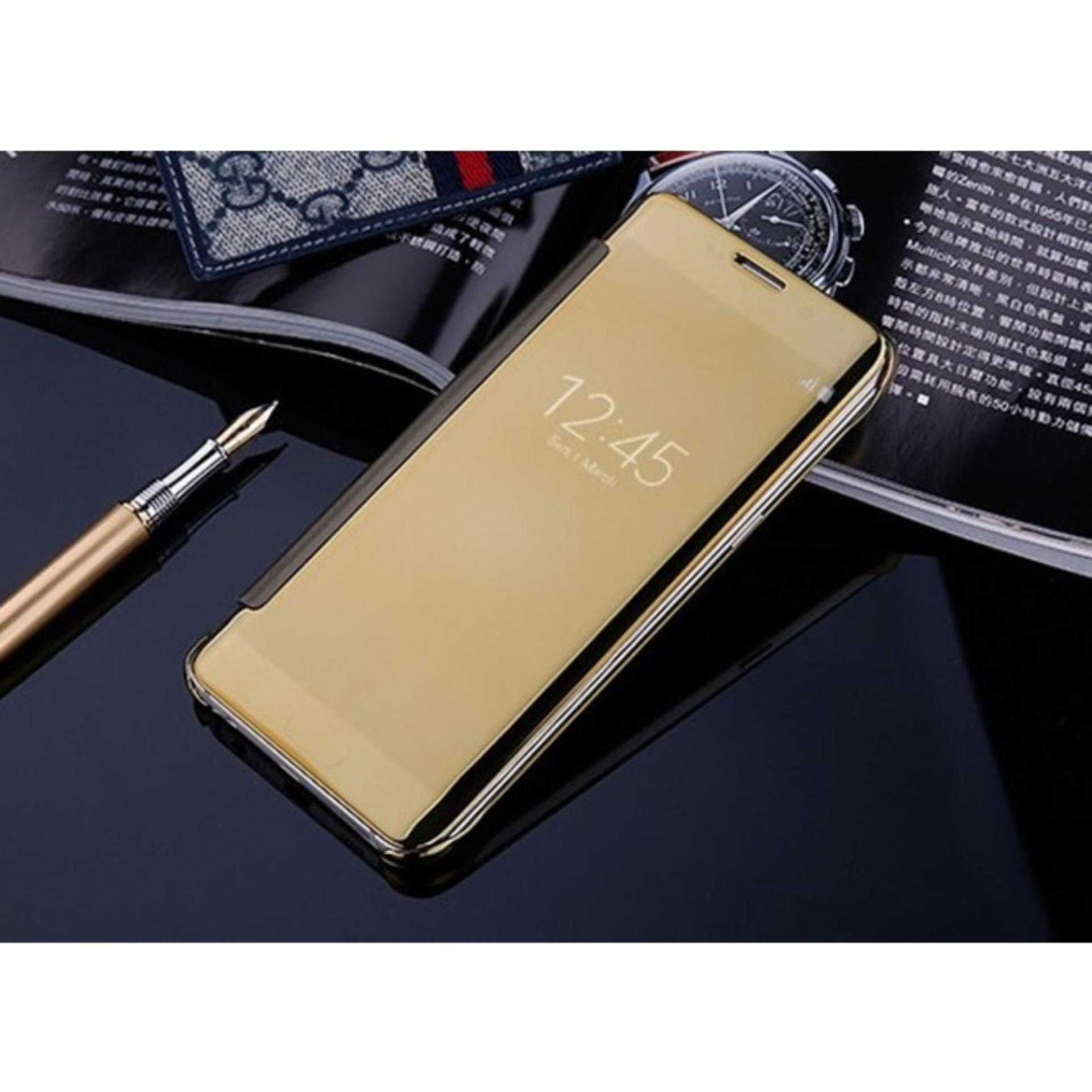 Samsung J7 Prime Flipcase Flip Mirror Cover S View Transparan AutoLock Casing Hp-Gold