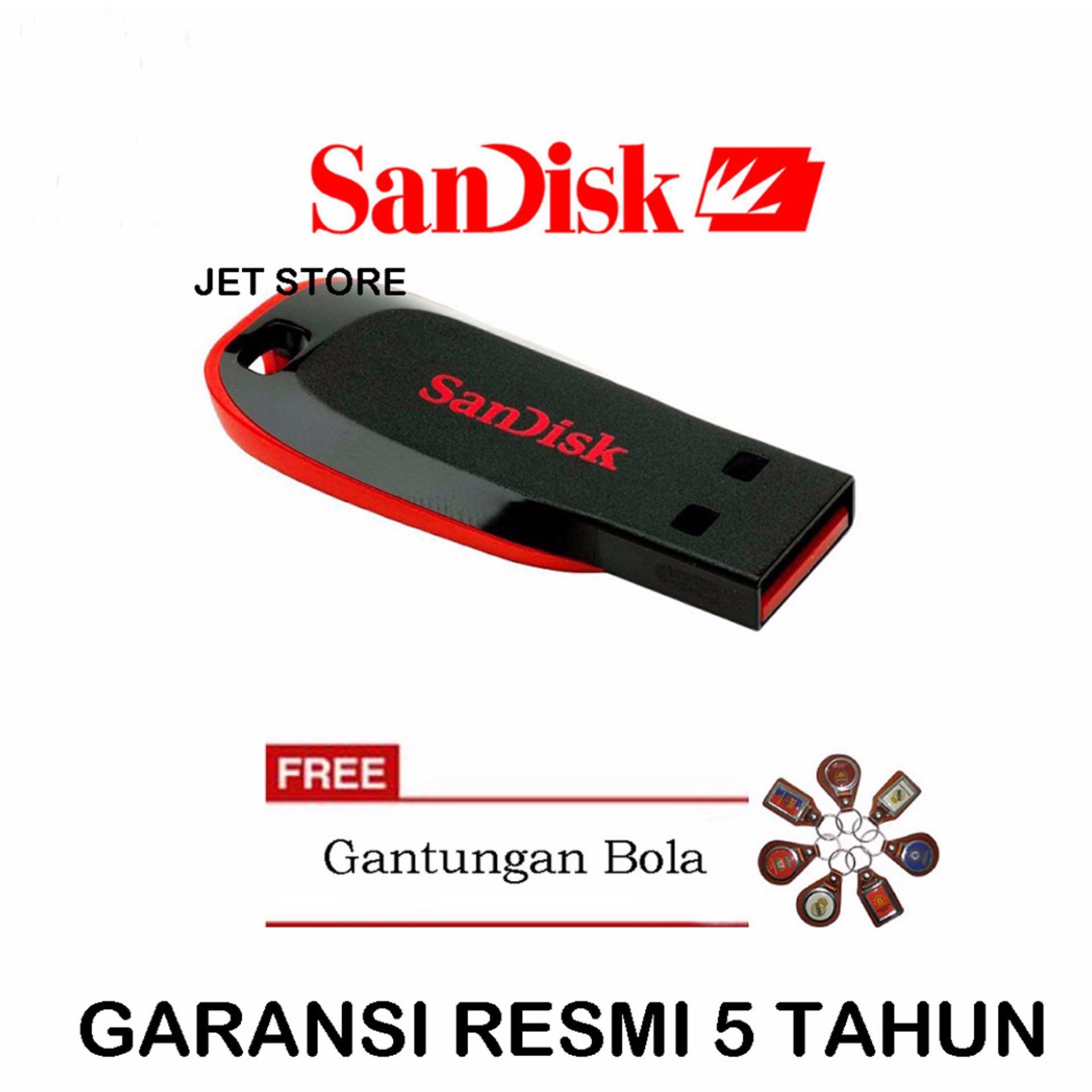 ... Sandisk Flash Disk USB 8GB Cruzer Blade CZ50 - Hitam + Gantungan Bola ...