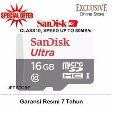 Sandisk Memory Card MicroSDHC UHS-I Class 10 - 16GB/80Mbs - Putih