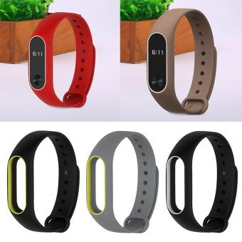 Silicone Soft Duotone Wrist Strap Wrist Bands Bracelet Replacement For Mi Band 2 - intl
