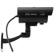 Small Dummy Camera CCTV Sticker Surveillance 90 Degree Rotatingwith Flashing Red LED Light (BLACK)