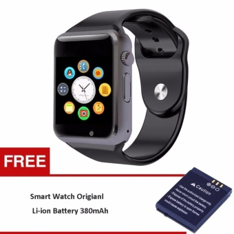 Smart Bluetooth A1 Smart Watch with Sport Pedometer Camera SIM micro SD Memory Connectivity with iPhone Android Phone MG0053 (Black/Black) (Free 1pcBattery for Smartwatch A1 DZ09 W8 V8) - intl