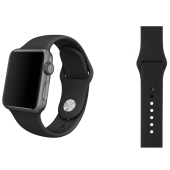 Soft Silicone Watch Band Strap With Connector Adapter For AppleWatch iWatch 42mm (Black)(...)