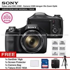 SONY Cyber-shot DSC-H300 Digital Camera H300 (Resmi Sony) 20.1MP 35x Zoom + SanDisk 16gb + Screen Protector + Camera Bag + Takara ECO-193A