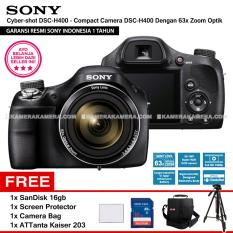 SONY Cyber-shot DSC-H400 - Compact Camera H400 63x Optical Zoom (Resmi Sony) + SanDisk 16gb + Screen Protector + Camera Bag + ATTanta Kaiser 203