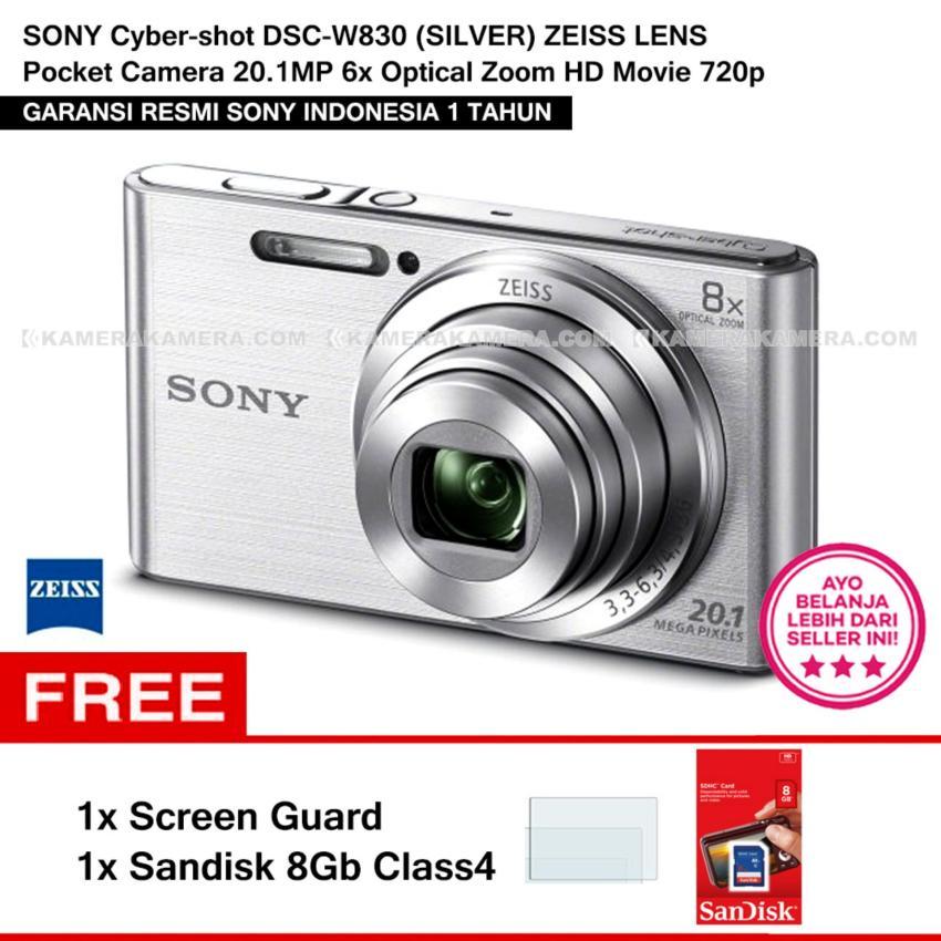 Sony Cyber-Shot Dsc-W830 (Silver) Zeiss Lens Pocket Camera 20.1Mp