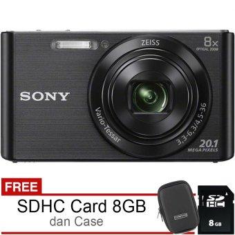 Sony DSC-W830 - 20,1MP ZEISS + SDHC 8GB + Case - Hitam