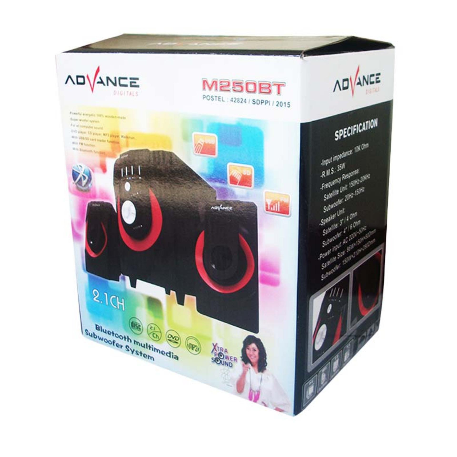 SP Advance M250BT Bluetooth Speaker - Hitam RED [Subwoofer System] .