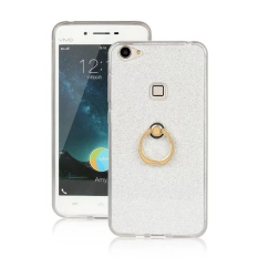 Sparkling Slim Fit Soft TPU Back Case Ring Grip Holder Cover For Vivo X6 (Silver)