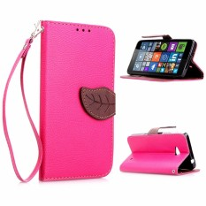 Stand Shell Protective Bumper Cover Filp PU Leather leaf Pattern Phone Case For Microsoft Lumia 640 LTE - intl