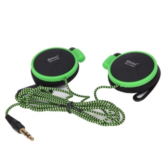 Style 3.5mm Ear Hanging Type Earphone Super Bass Headset With MicFor Mobile Phone Green - intl