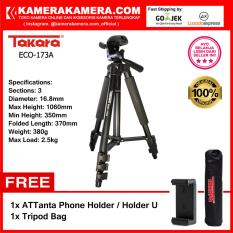 TAKARA ECO-173A - Professional Tripod 173A Black with Tripod Bag for Mirrorless Pocket Action Camera - GoPro Brica Xiaomi Canon Nikon Sony FujiFilm Panasonic FREE ATTanta Holder U + Tripod Bag