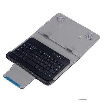 Tipis pelapis Keyboard Bluetooth nirkabel untuk IOS Android PC + Case kulit (hitam)