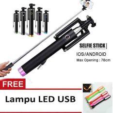Tongsis Monopod Kabel/ Selfie Stick -Pink + Lampu LED USB