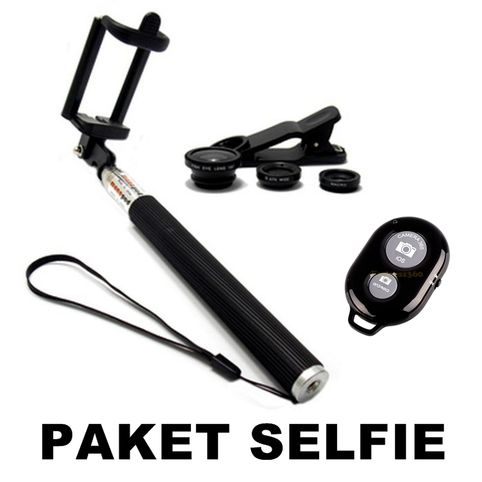 ... Tongsis Monopod / Remote Bluetooth Shutter + Lens Clip - Random -Paket Selfie ...