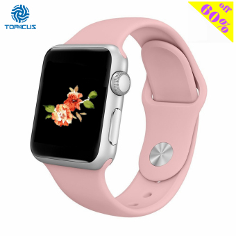 top4cus Silicone Replacement Sport Strap Watch Band for Apple Watch iwatch Series 1 and 2 - 42mm - Medium/Large - Vintage Rose - intl