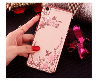 TPU silikon Gel lembut berlian kristal berwarna merah muda bungabagian belakang untuk Oppo A37 (mawar
