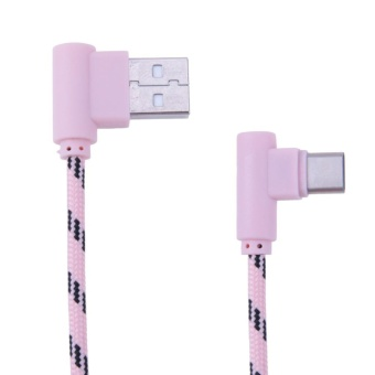 Type-C Elbow Charging Data Cable Micro USB Charger AdapterLine(Pink) - intl