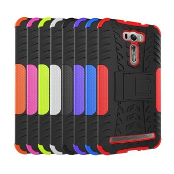 UEKNT Heavy Duty Rugged Hybrid Dual Layer Kickstand Shockproof CaseProtective Cover Case for ASUS ZenFone 2 Laser ZE601KL 6.0\ (Black)- intl""
