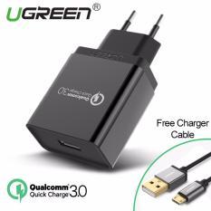 UGREEN Qualcomm Bersertifikat USB 3.0 18 watt Charger - Hitam + Gratis 1m kabel micro USB