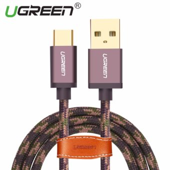 UGREEN Type C Cable Cord Nylon Braided Sync and Fast Charging Data Cable for Android Mobile Phone - 2M,Arm Green - intl