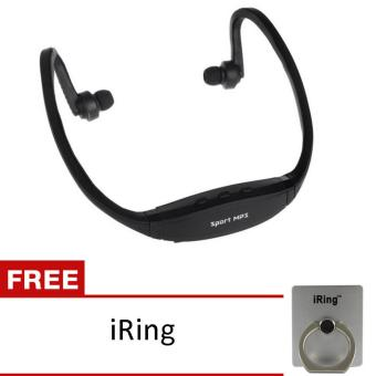 uNiQue Headset In Ear Sport MP3 Player + FM Radio Headset - HitamFREE I-ring