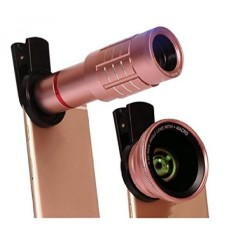 Universal 4 In 1 HD 12x Zoom Telescope Telepon 180 Gelar Fisheye 0.45X Wide Angle 12.5x Micro Lens Metal Clip Phone Camera Lens Set (Rose Gold) -Intl