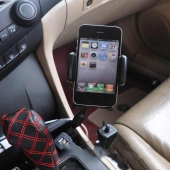 Universal Dual USB Car Charger Mount Mobile Phone Holder BracketStands Cigarette Lighter for iPhone Android phones - intl