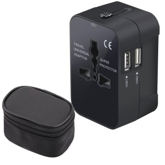 Universal World Travel Charger Dual USB Ports US To UK EU AU All In One Worldwide Travel Power Adapter Safety Fuse Protection Adaptor International AC Wall Charger With Free Gift Bag for Storage-Black - intl