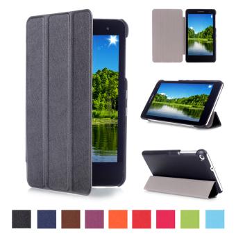 Untuk kasus Huawei MediaPad T1 (T1-701u) 17.78 cm PU kulit sandaldompet dengan kasus stan - Hitam