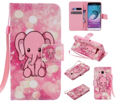 Upscale Colorful Pattern Pink Elephant Card Slot Wallet PU Leather Stand Flip Case Cover for Samsung