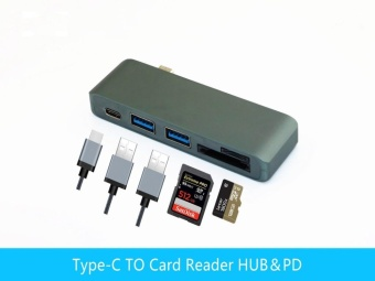 USB-C 3.1 Multi-port Hub Adapter 2 USB3.0 Ports Type-C PD SD/TFCard Reader for MACBOOK