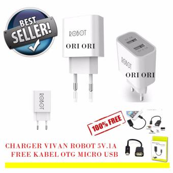 Vivan Robot Fast Adaptor Charger 2.1A RT-C04 + Free Kabel Data OTG Micro USB