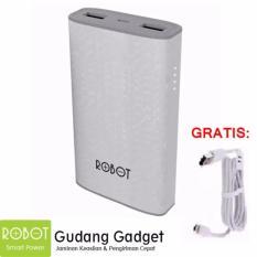 Vivan Robot RT7100 6600mAh 2 USB Ports Power Bank White Bergaransi Resmi 1Tahun